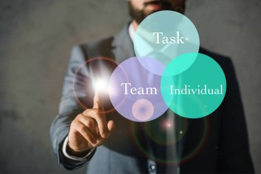 cropped view of successful businessman touching circles with task, team and individual words