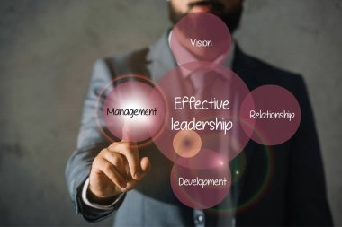 cropped view of businessman touching effective leadership plan