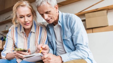 senior couple counting money and taking notes in notebook during relocation