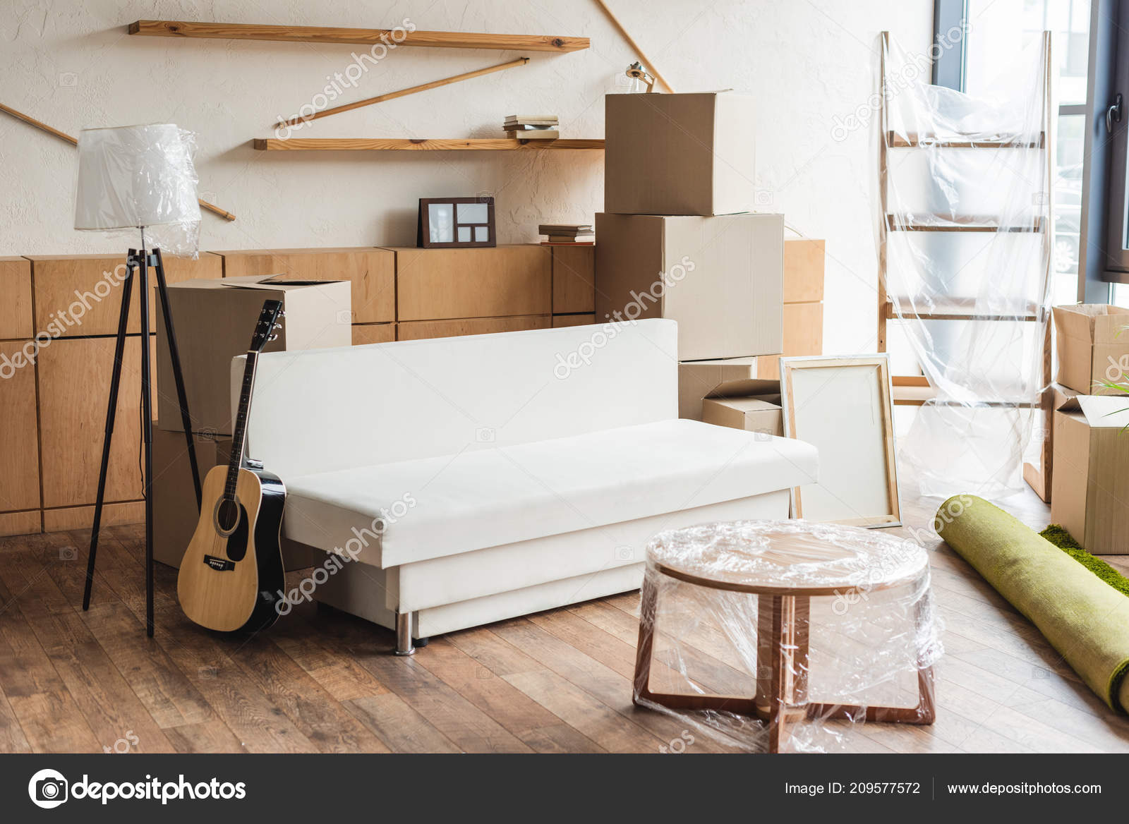 Cardboard Boxes Rolled Carpet Guitar Furniture New Apartment ...