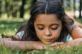 kiadványról imádnivaló gyermek feküdt a füvön, és lenézett a parkban