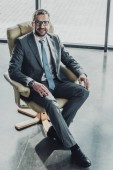 Fotografie high angle view of handsome happy businessman sitting on luxury armchair and looking at camera at modern office