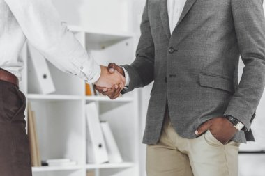 Cropped image of african american businessman and colleague shaking hands stock vector