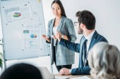 asian businesswoman standing near flipchart during meeting in office and talking with colleague