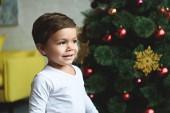 Fotografie usměvavý chlapeček stojící poblíž vánoční stromeček doma