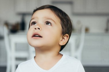 portrait of adorable innocent boy looking up at home