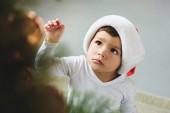 santa kalap díszítő karácsonyfa imádnivaló fiú