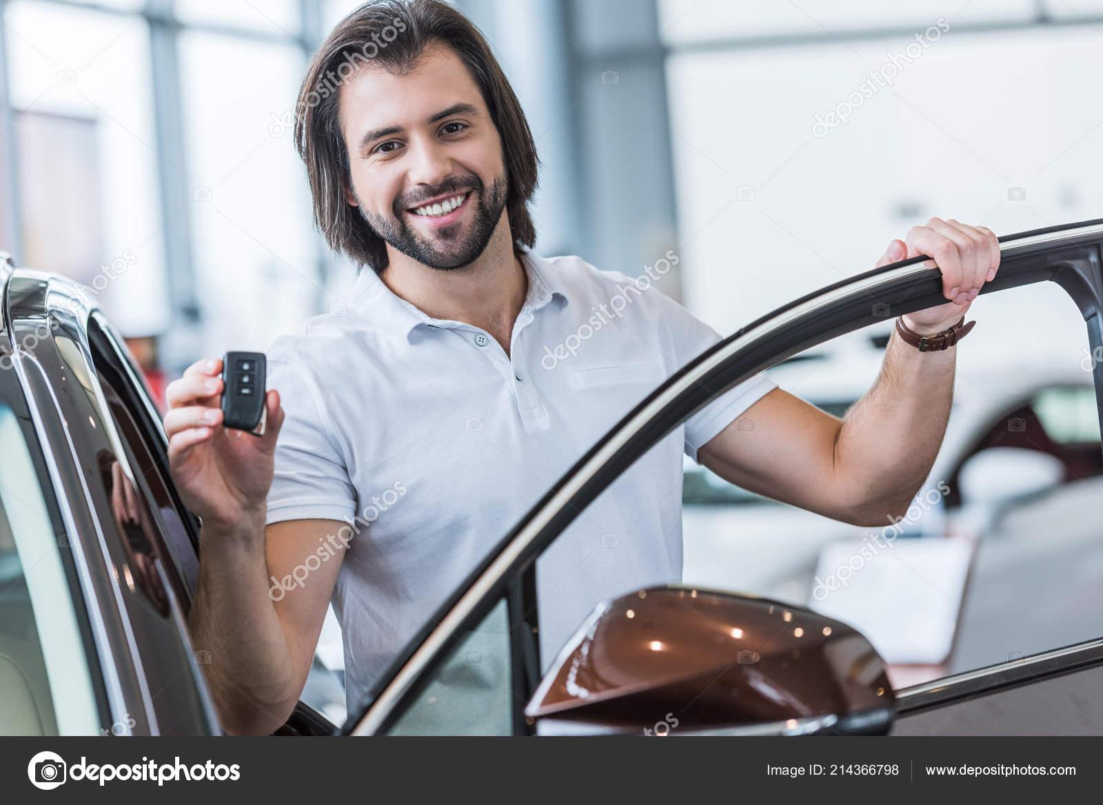 Key Car Dealership >> Portrait Happy Man Car Key Standing New Car Dealership Salon