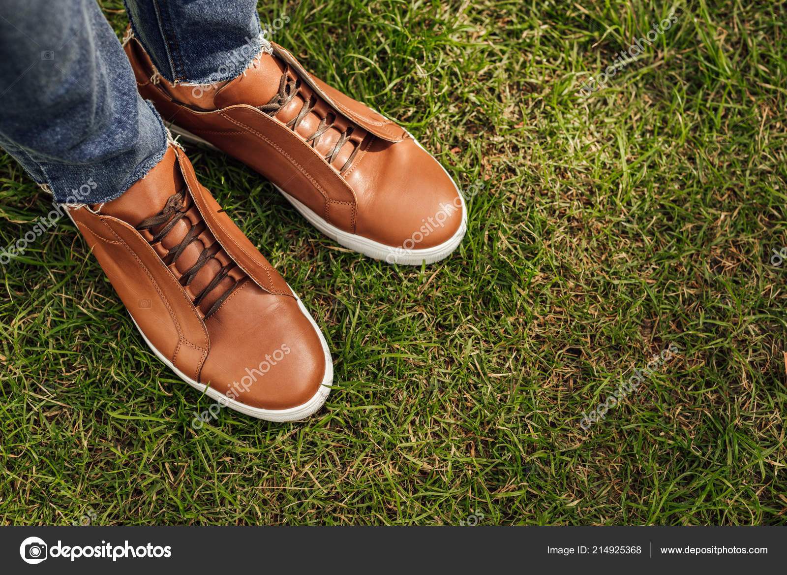 Vaqueros Pantalones Los Hombre Zapatos Recortada Del Imagen Marrones Ofz8HIXwc