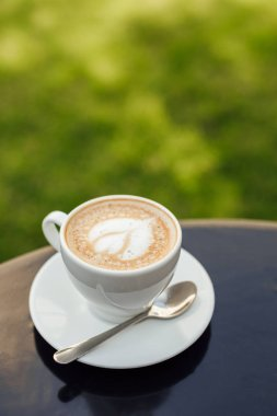 cup of cappuccino with plate and spoon on wooden tabletop in garden