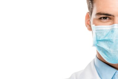 cropped image of young male doctor in medical mask isolated on white