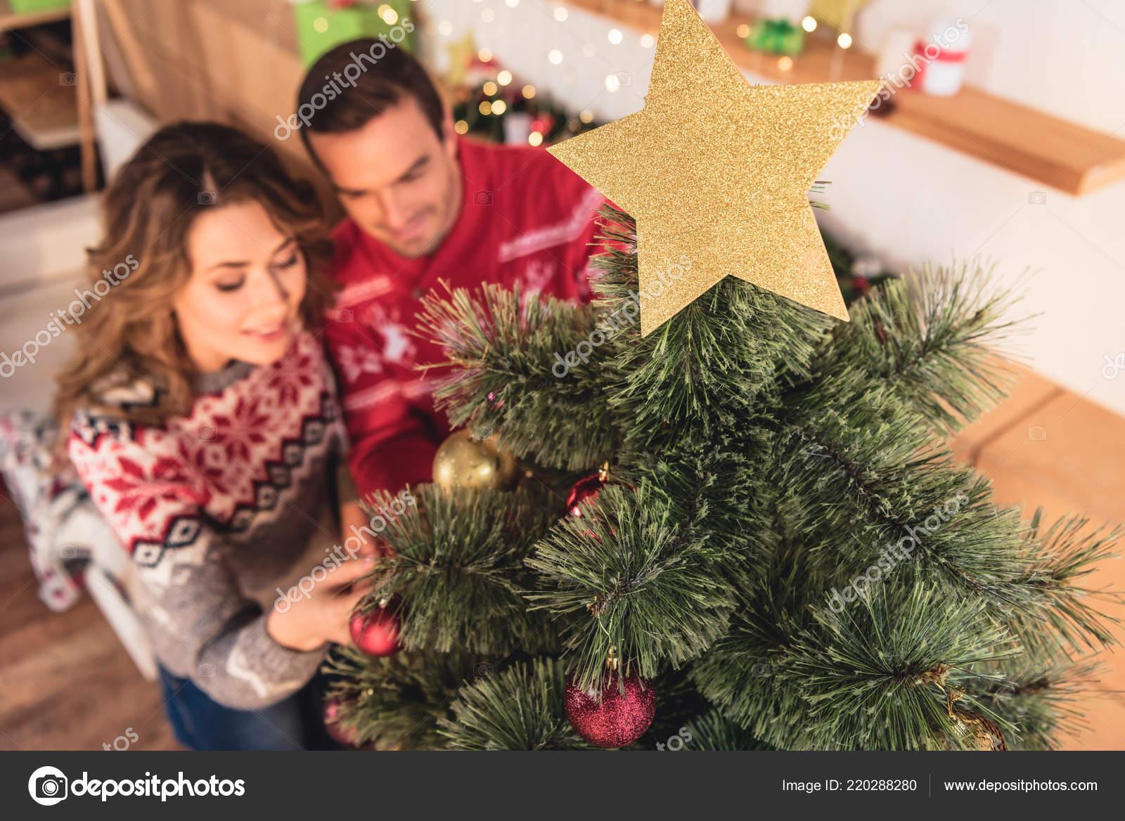 Enfoque Selectivo Oro Estrella Navidad Par Decorar árbol