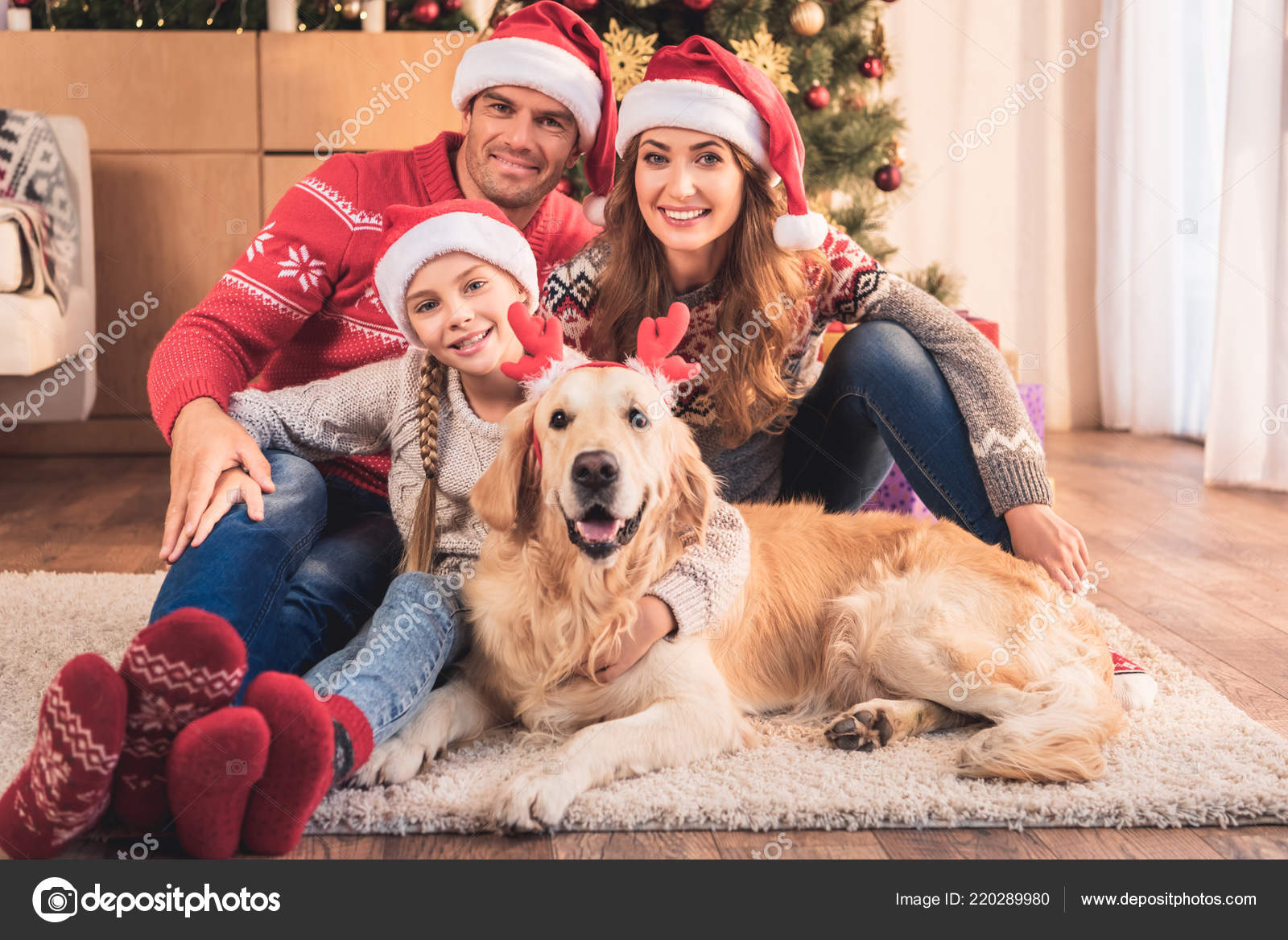 Happy Family Santa Hats Dog Deer Horns Sitting Christmas