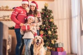 Photo smiling family in santa hats with dog in deer horns standing near christmas tree with gift boxes
