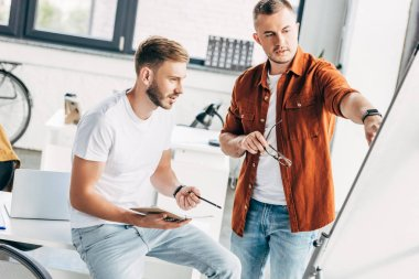 successful young businessmen looking at whiteboard at office