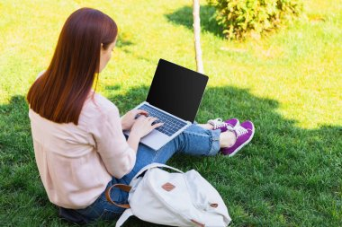 Attractive freelancer using laptop with blank screen in park stock vector