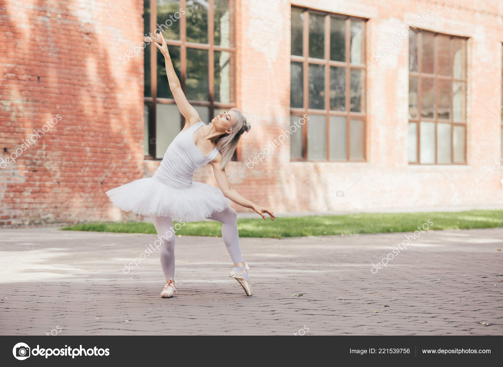 Attractive Young Ballerina Pointe Shoes Dancing Urban Street Stock Photo C Allaserebrina 221539756