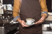 cropped shot of barista in apron holding cup of fresh made coffee