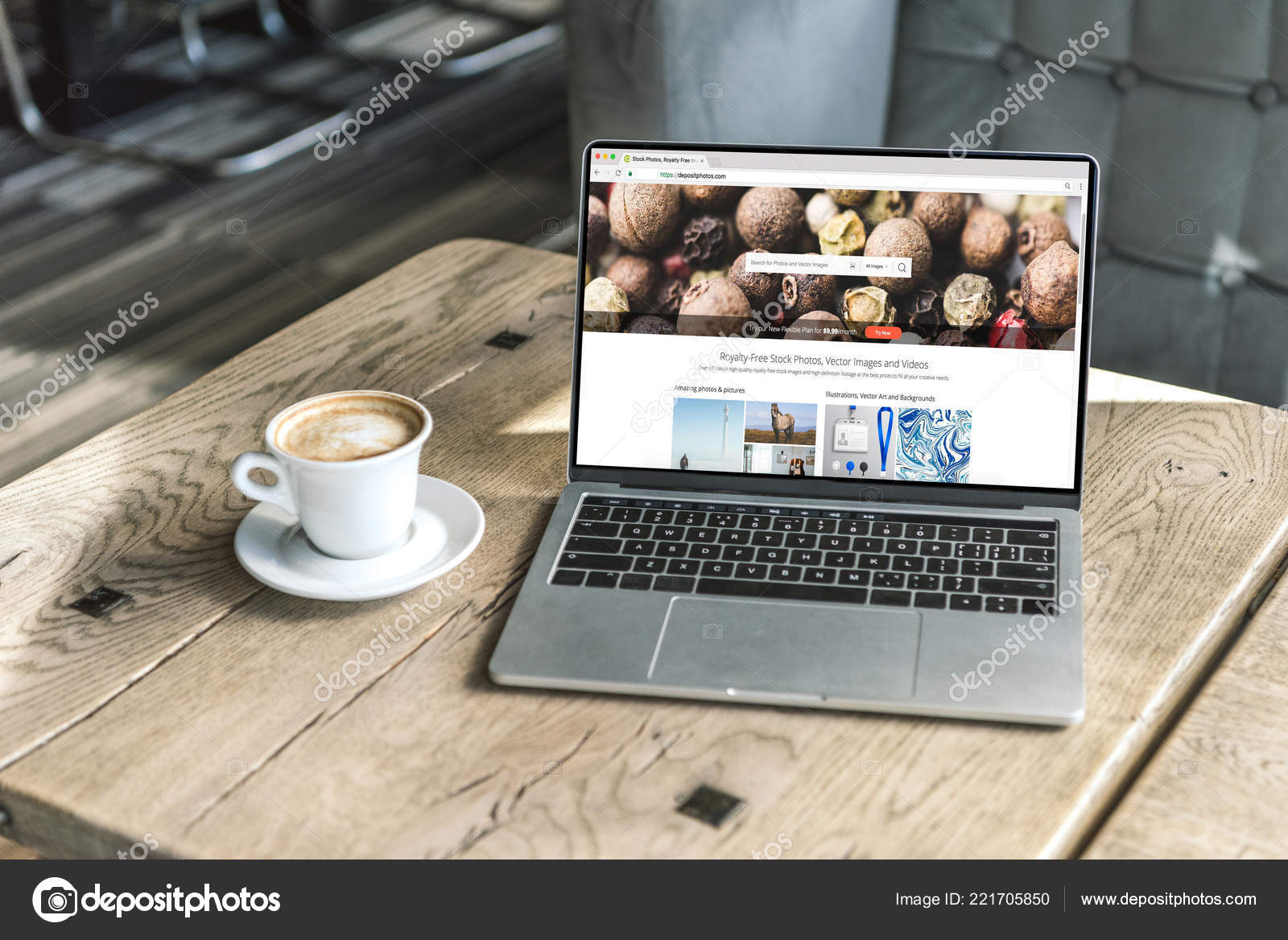 Cup Coffee Laptop Shutterstock Website Screen Wooden Table Cafe