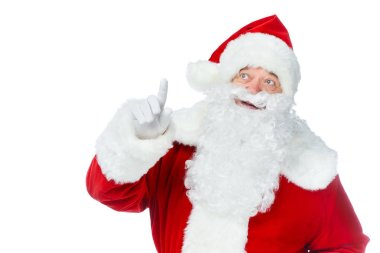 santa claus pointing up and having idea isolated on white