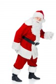 vousy santa Clause v červený kostým izolované na bílém