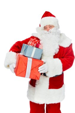 smiling santa claus with christmas presents isolated on white