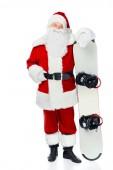 Fotografie Santa claus pózuje s snowboard izolované na bílém