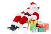Mikulás a strand szék pihentető karácsonyi bemutatja a fehér