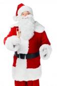 Santa claus slavit Vánoce s šampaňské izolované na bílém
