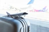 Detail modelu malé letadlo na šedý kufr v Letiště