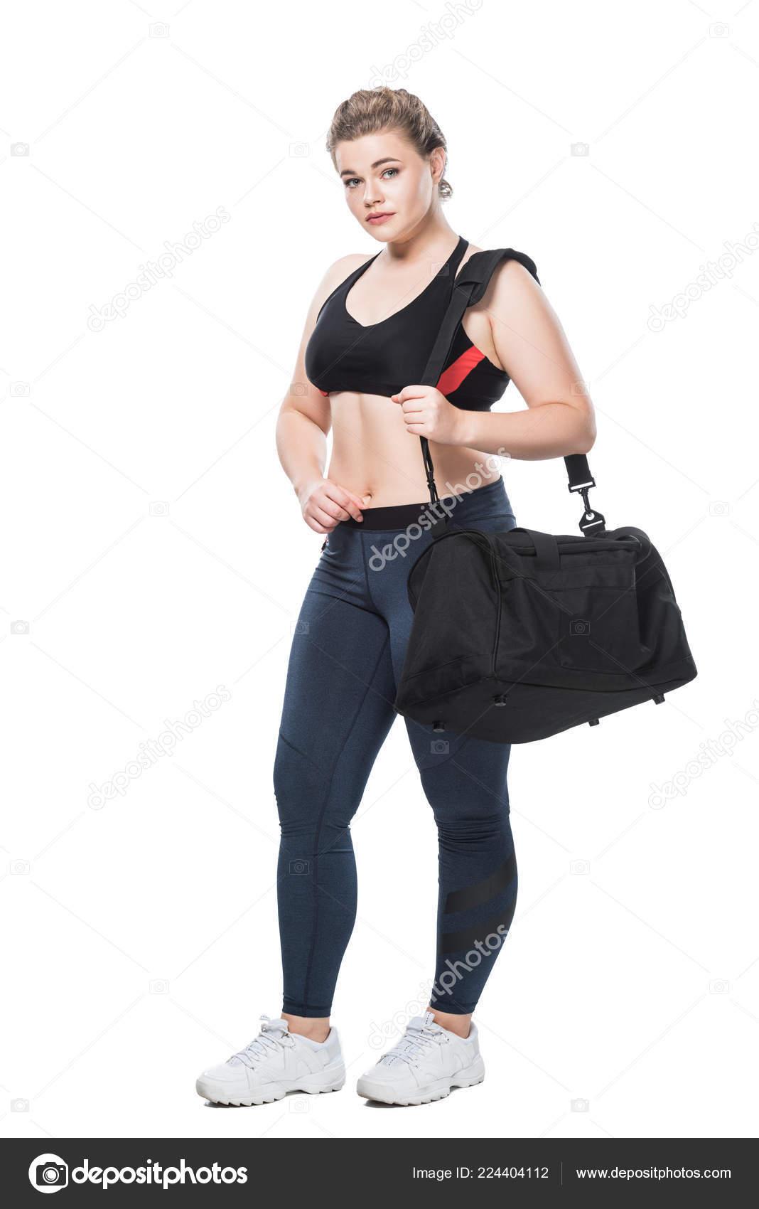 58ae3b158903 Προβολή Πλήρους Μήκους Ελκυστική Νεαρή Μέγεθος Συν Γυναίκα Σπορ Τσάντα — Φωτογραφία  Αρχείου