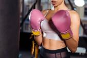 Částečný pohled silné děvče v Boxerské rukavice trénovat box v tělocvičně