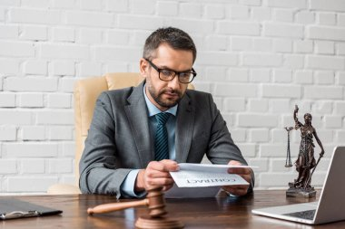 serious male lawyer in eyeglasses working with contract in office