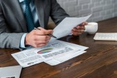 Oříznout záběr podnikatel dělat papíry na pracovišti
