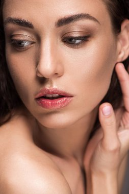 portrait of attractive tender woman with perfect skin