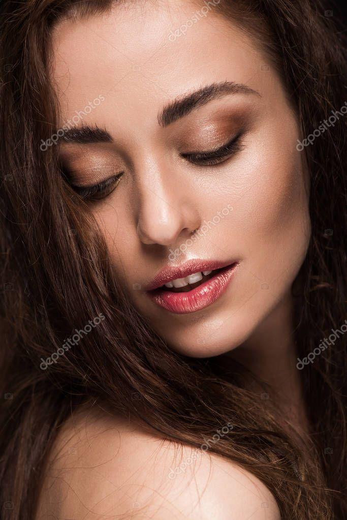 Portrait of attractive tender girl with brunette hair stock vector