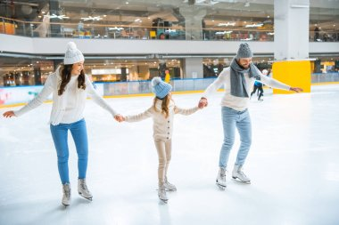Family in sweaters holding hands while skating together on ice rink stock vector
