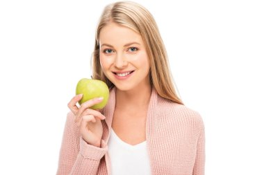 beautiful woman smiling and holding apple isolated on white