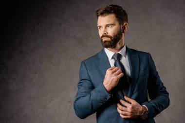 confident bearded businessman standing in formalwear and touching tie