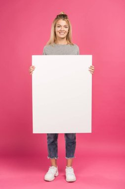 Beautiful woman holding empty card, isolated on pink stock vector