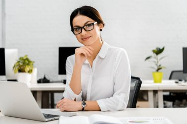 Portrait of smiling businesswoman in eyeglasses at workplace with laptop in office stock vector