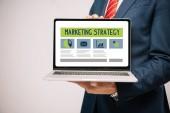 Fotografie oříznutý pohled podnikatel v obleku představuje notebook s marketingovou strategii izolované Grey