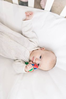 overhead view of adorable baby with toy in crib