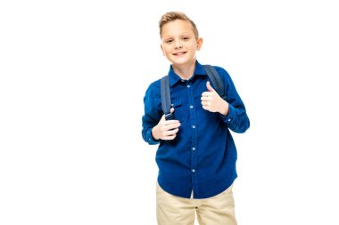 Schoolboy in blue shirt showing thumb up and smiling at camera isolated on white stock vector