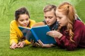 libro di lettura e carina del preteen schoolkids sdraiato sul prato verde