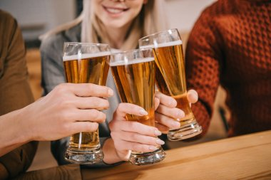 cropped view of friends toasting with glasses of beer