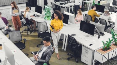 high angle view of professional young businesspeople working with computers and papers in office