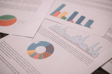 Close up of business documents with graphs and charts for strategy stock vector