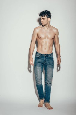 sexy shirtless muscular macho in jeans posing on grey