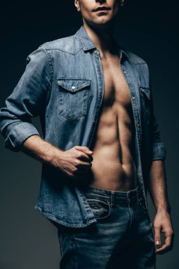 Cropped view of sexy man posing in denim shirt isolated on grey stock vector